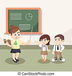 teacher teaching students illustration design