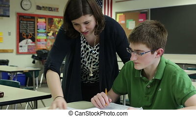 Teacher tutoring student