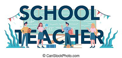 Teacher typographic header concept. Profesor standing in front of the blackboard School or college workers with professional discipline tools. Isolated flat vector illustration