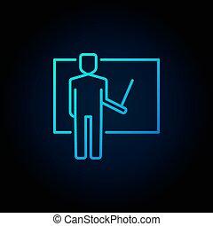 Teacher vector blue icon