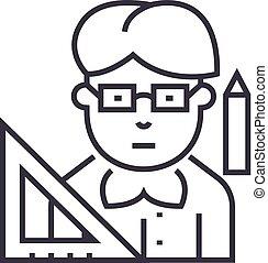 teacher vector line icon, sign, illustration on background, editable strokes