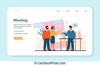 Teacher web banner or landing page. Profesor planning curriculum, meeting parents. School or college workers. Idea of education and knowledge. Isolated flat vector illustration
