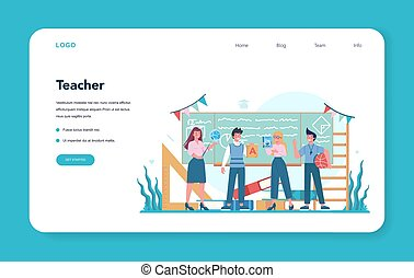 Teacher web banner or landing page. Profesor standing in front of the blackboard School or college workers with professional discipline tools. Isolated flat vector illustration
