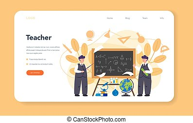 Teacher web banner or landing page. Profesor standing in front of the blackboard. School or college workers with professional discipline tools. Isolated flat vector illustration