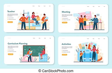 Teacher web banner or landing page set. Profesor planning curriculum, meeting parents. School or college workers. Idea of education and knowledge. Isolated flat vector illustration