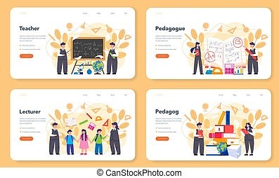 Teacher web banner or landing page set. Profesor standing in front of the blackboard. School or college workers with professional discipline tools. Isolated flat vector illustration