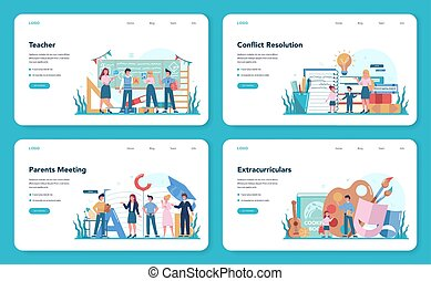 Teacher web banner or landing page set. Profesor standing in front of the blackboard School or college workers with professional discipline tools. Isolated flat vector illustration