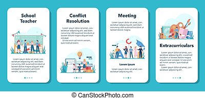 Teacher mobile application banner set. Profesor standing in front of the blackboard School or college workers with professional discipline tools. Isolated flat vector illustration