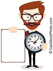Teacher with a sheet timesheet