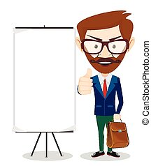 Teacher with blank poster, vector