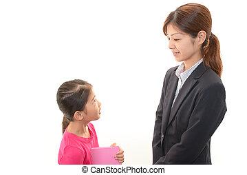 Teacher with girl