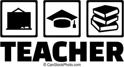 Teacher with icons - blackboard graduation hat and books