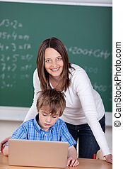Teacher with laptop