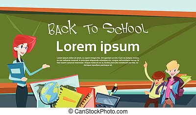 Teacher With Pupils In Class Back To School Education Banner...