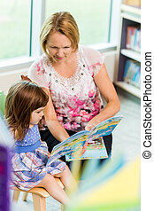 Teacher With Schoolgirl Reading Book