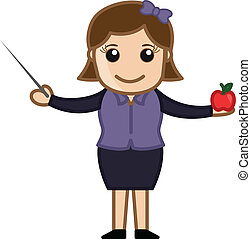 Teacher with Stick and Apple - Drawing Art of Young Cartoon...