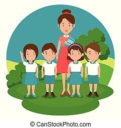 teacher with student cartoon