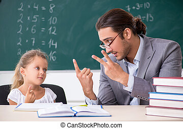 Teacher with young girl in the classroom