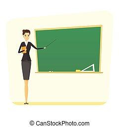 Teacher woman concept - cartoon female teacher with...