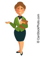 Teacher woman of school university profession vector flat...