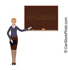 teacher woman standing with a pointer near chalkboard