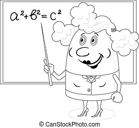 School teacher showing with her pointer on blackboard with Pythagorean theorem, funny cartoon character, black contour on white background. Vector