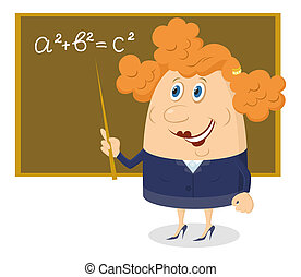 School teacher showing with her pointer on blackboard with Pythagorean theorem, funny cartoon character.