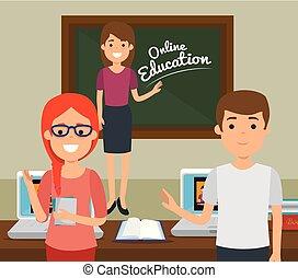 teacher woman with chalkboard education online