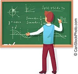 Teacher write on blackboard. School professor teach students, explaining charts formulas graphs on chalkboard vector illustration