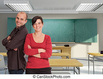 A pair of smiling teachers in a classroom