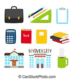Teachers and students tools icons. Vector subjects for study cartoon collection