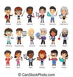 Teachers Flat Cartoon Characters