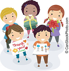 Teacher's Gift Kids - Illustration of Kids Presenting Gifts,...