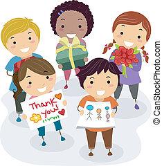 Teacher's Gift Kids - Illustration of Kids Presenting Gifts,...