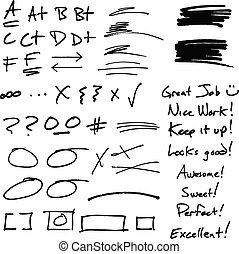 A collection of notes, grades, and proofreading marks from a teacher's grading of a paper. Great for adding a personal touch.