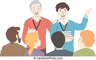 Teachers Introduce New Teacher Illustration