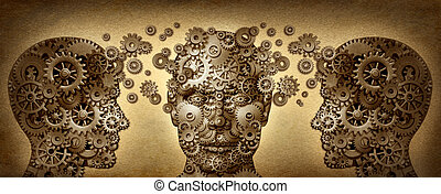 Teaching and learning education concept with three human heads in a front and side view made of gears and cogs working together in partnership for career advancement and business success on a grunge old parchment texture.