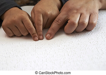 teaching blid kid to read text in braille language