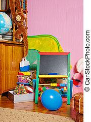 teaching board in kids room