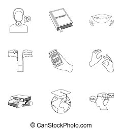 Teaching Chinese in Russia. Translation of the Chinese language. Interpreter ang translator icon in set collection on outline style bitmap, raster symbol stock illustration.