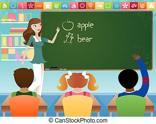 Teaching Class - Stylish young teacher in classroom,...
