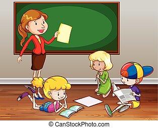 Teaching - Female teacher teaching in the classroom