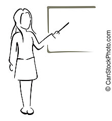 Teaching in class - Illustration of women teacher...