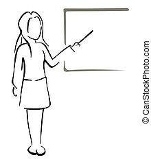 Teaching in class - Illustration of women teacher...