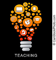 Teaching Lightbulb Means Give Lessons And Educate - Teaching...