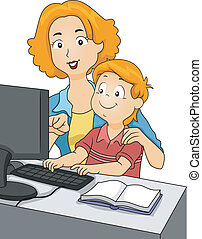Teaching Son - Illustration of a Mother Teaching Her Son on...