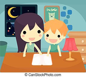 teaching son - mother teaching her son to do homework.vector...