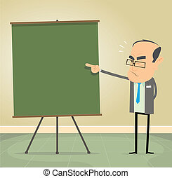 Illustration of a cartoon old school teacher teaching moral values and discipline