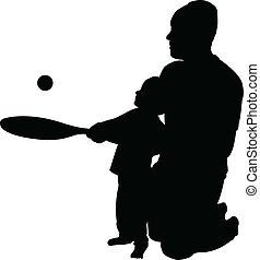 teaching to play tennis to son