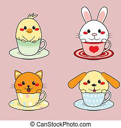 Teacup Animals - Four adorable cute little animals inside...
